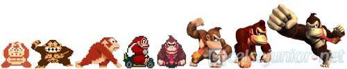 A timeline de evolução do personagem Donkey Kong, da Nintendo.